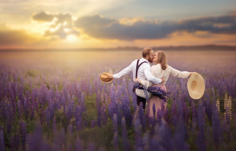 Photo wallpaper field, summer, girl, flowers, nature, basket, kiss, pair, guy, hats, lovers, lupins, Александр Калинин