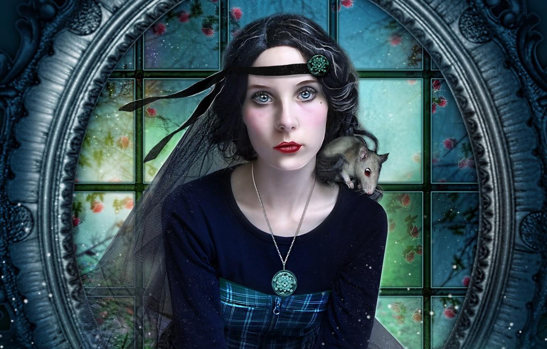 Photo wallpaper look, girl, rat, red lips, photoart