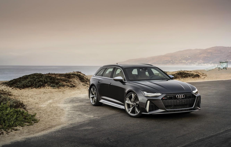 Photo wallpaper Audi, universal, RS 6, 2020, 2019, dark gray, the shore, V8 Twin-Turbo, RS6 Avant