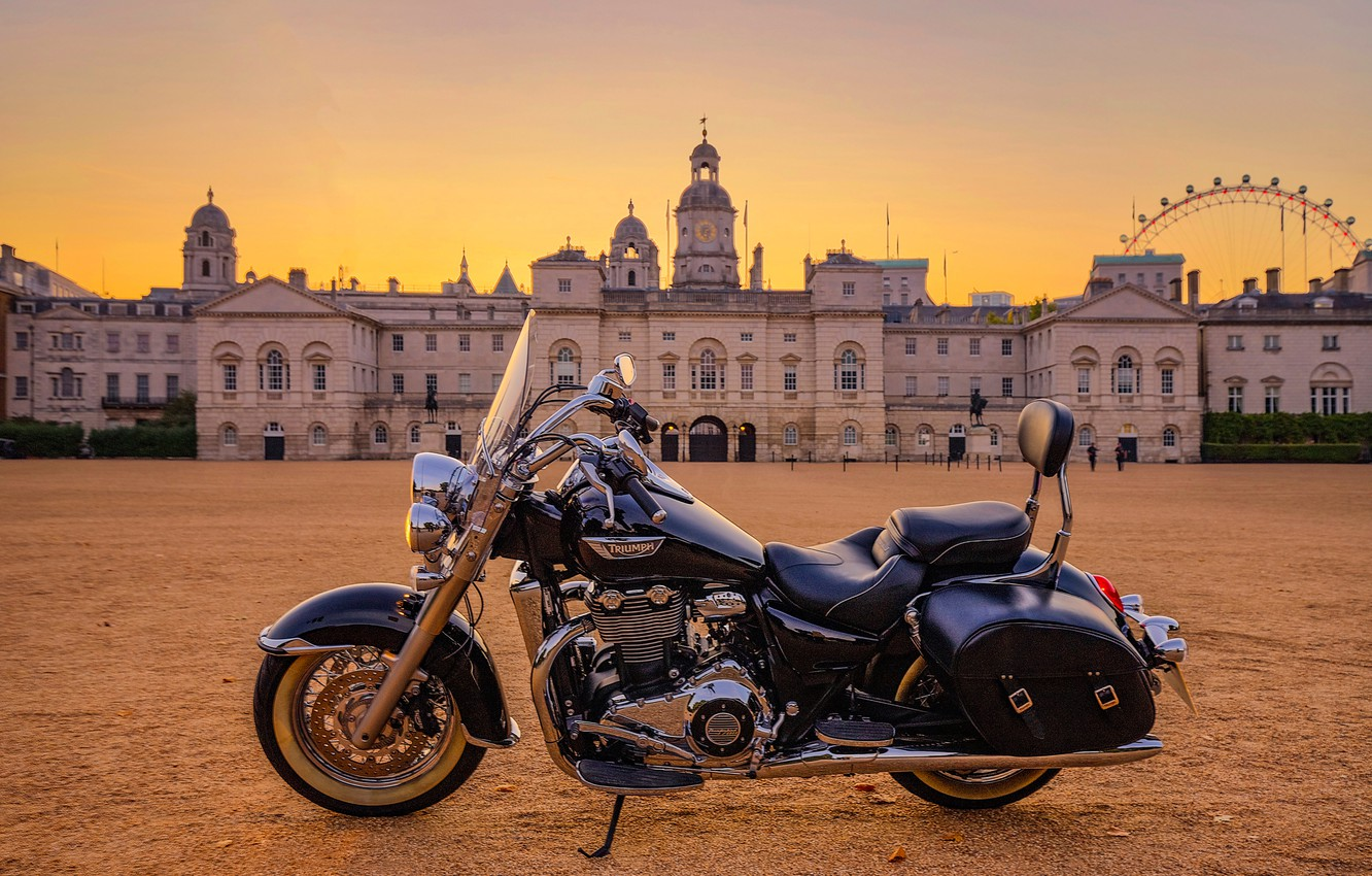 Photo wallpaper the building, motorcycle, Palace, Triumph