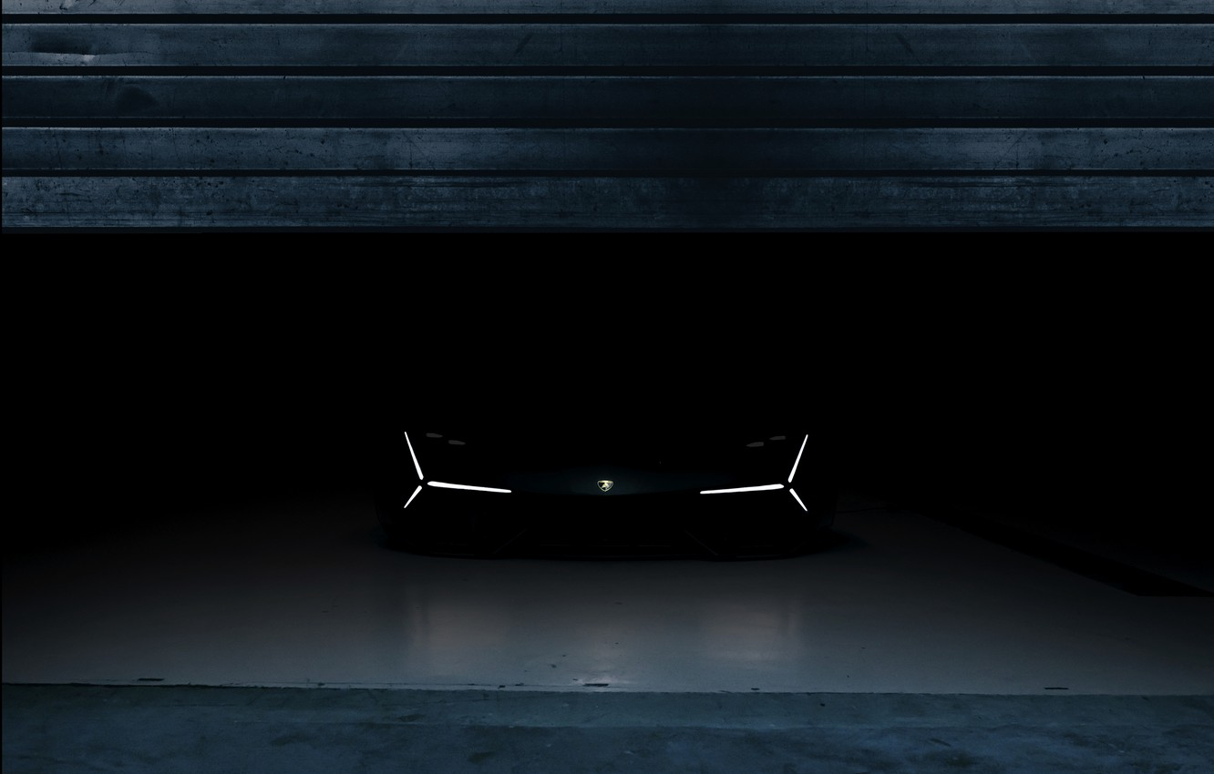 Photo wallpaper darkness, Lamborghini, front view, 2017, The Third Millennium Concept
