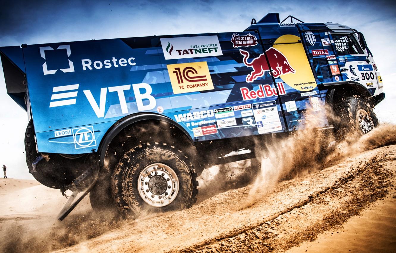 Photo wallpaper Sand, Auto, Sport, Machine, Truck, Race, Master, Russia, 300, 2018, Kamaz, Rally, KAMAZ-master, Rally, KAMAZ, …