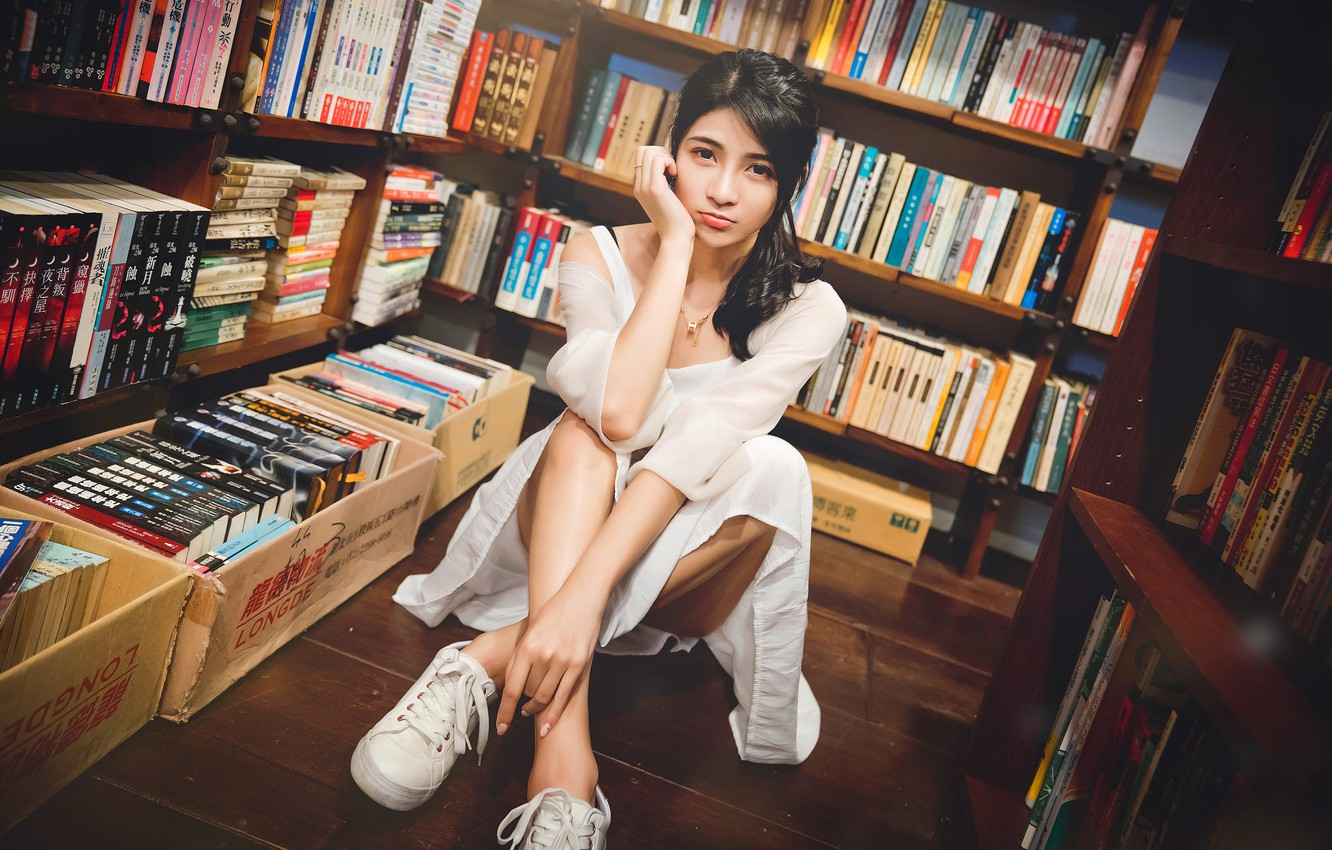 Photo wallpaper look, pose, model, books, sneakers, portrait, makeup, dress, brunette, hairstyle, library, legs, Asian, beauty, sitting, …
