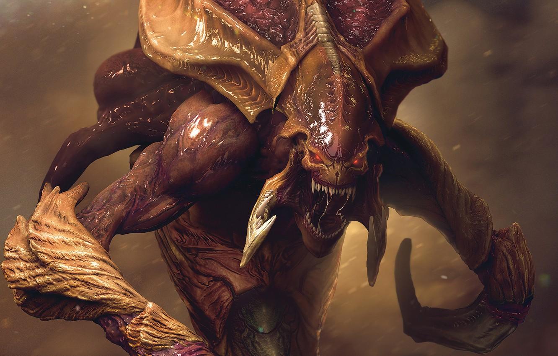 Photo wallpaper monster, mouth, starcraft, zerg, Zerg, StarCraft, strategy, remastered