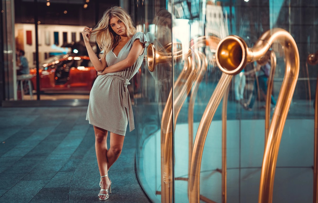 Photo wallpaper reflection, Girl, dress, blonde, shoes, legs, Sofy, Marco Squassina