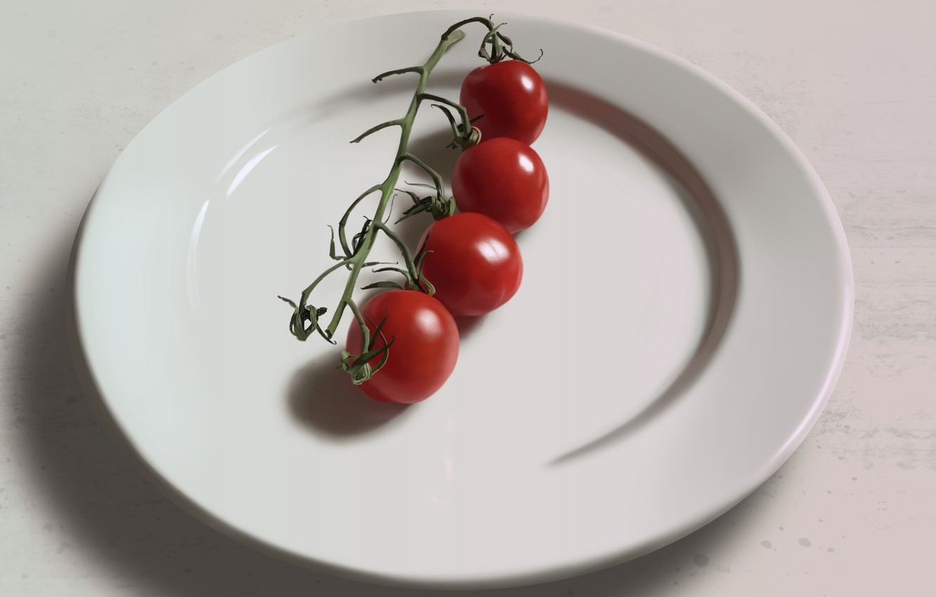 Photo wallpaper plate, still life, tomatoes, cherry, tomatoes, Guenter Zimmermann, Four tomatoes on a plate.