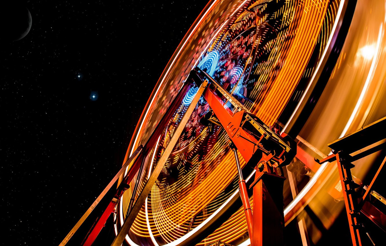 Photo wallpaper the sky, stars, Ferris wheel
