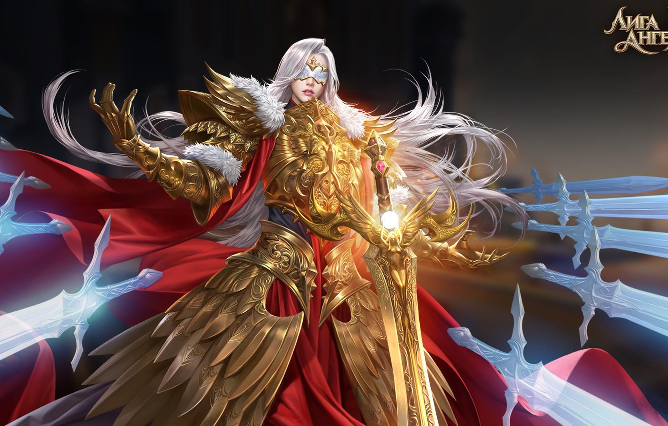 Photo wallpaper girl, mask, swords, League of Angels, League of angels