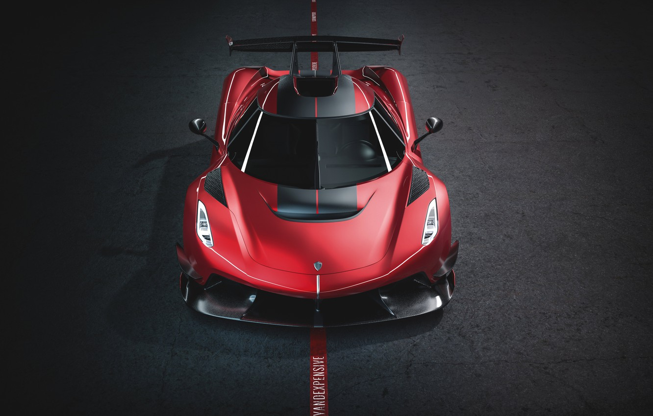 Photo wallpaper Koenigsegg, supercar, front view, hypercar, 2019, Jesko, 1600 HP, Cherry Red Edition