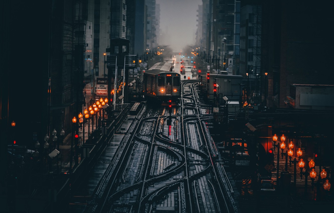 Photo wallpaper light, the city, lights, the darkness, train, morning, Chicago, lights, USA
