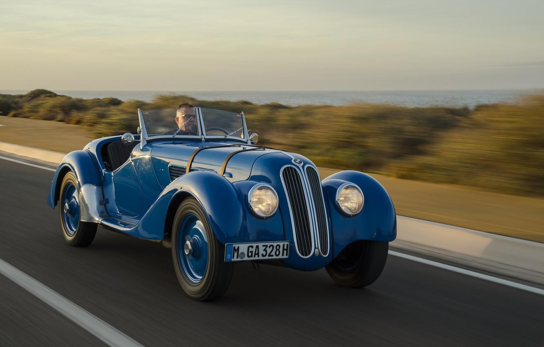 Photo wallpaper BMW, Blue, Vintage, Road, 328