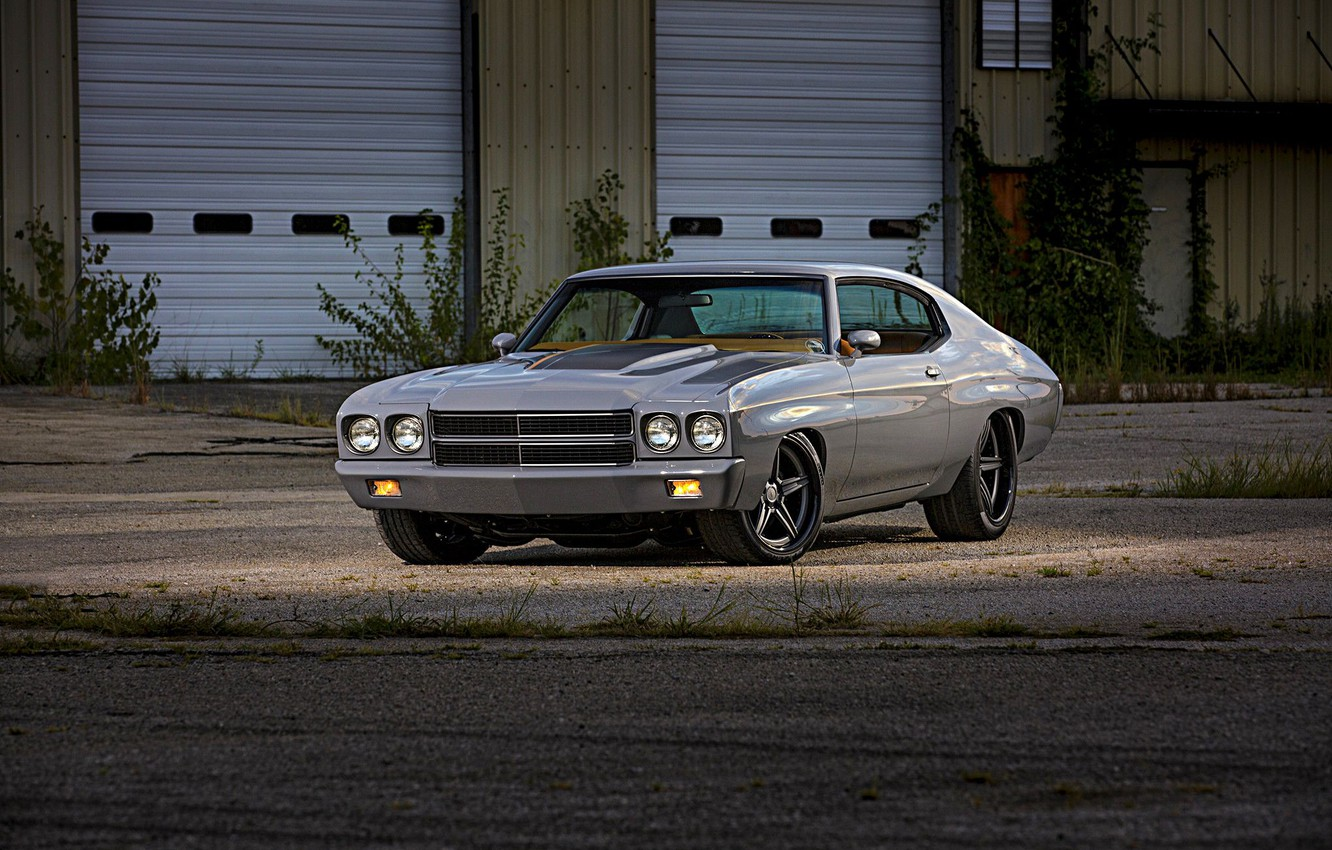 Photo wallpaper Muscle, Grey, Chevelle, Pro Touring