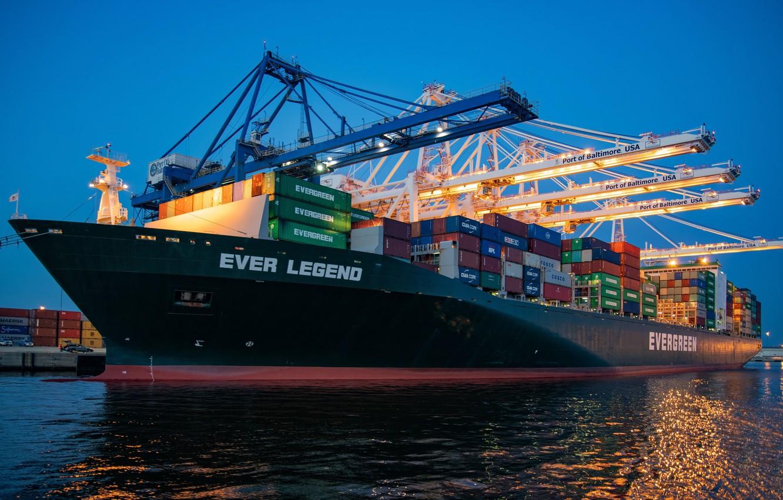 Photo wallpaper Port, Board, The ship, Port, Vessel, Evergreen, Cargo operations, Evergreen Marine Corporation, David Dibert, Evergreen …