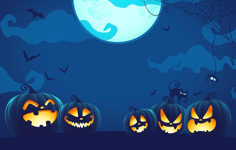 Photo wallpaper spider, Halloween, moon, blue, night, cat, holiday, digital art, bats, pumpkins, black cat, spooky, spider …