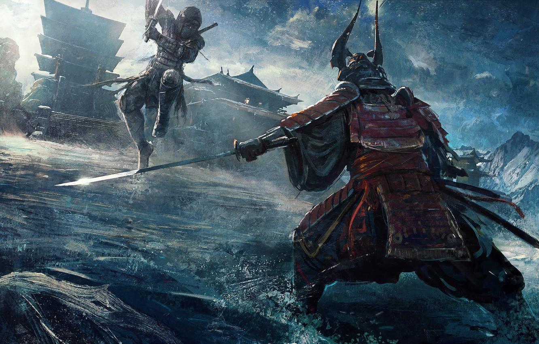 Photo wallpaper fantasy, armor, katana, battle, artist, ninja, digital art, fighting, artwork, concept art, Samurai, building, fantasy …