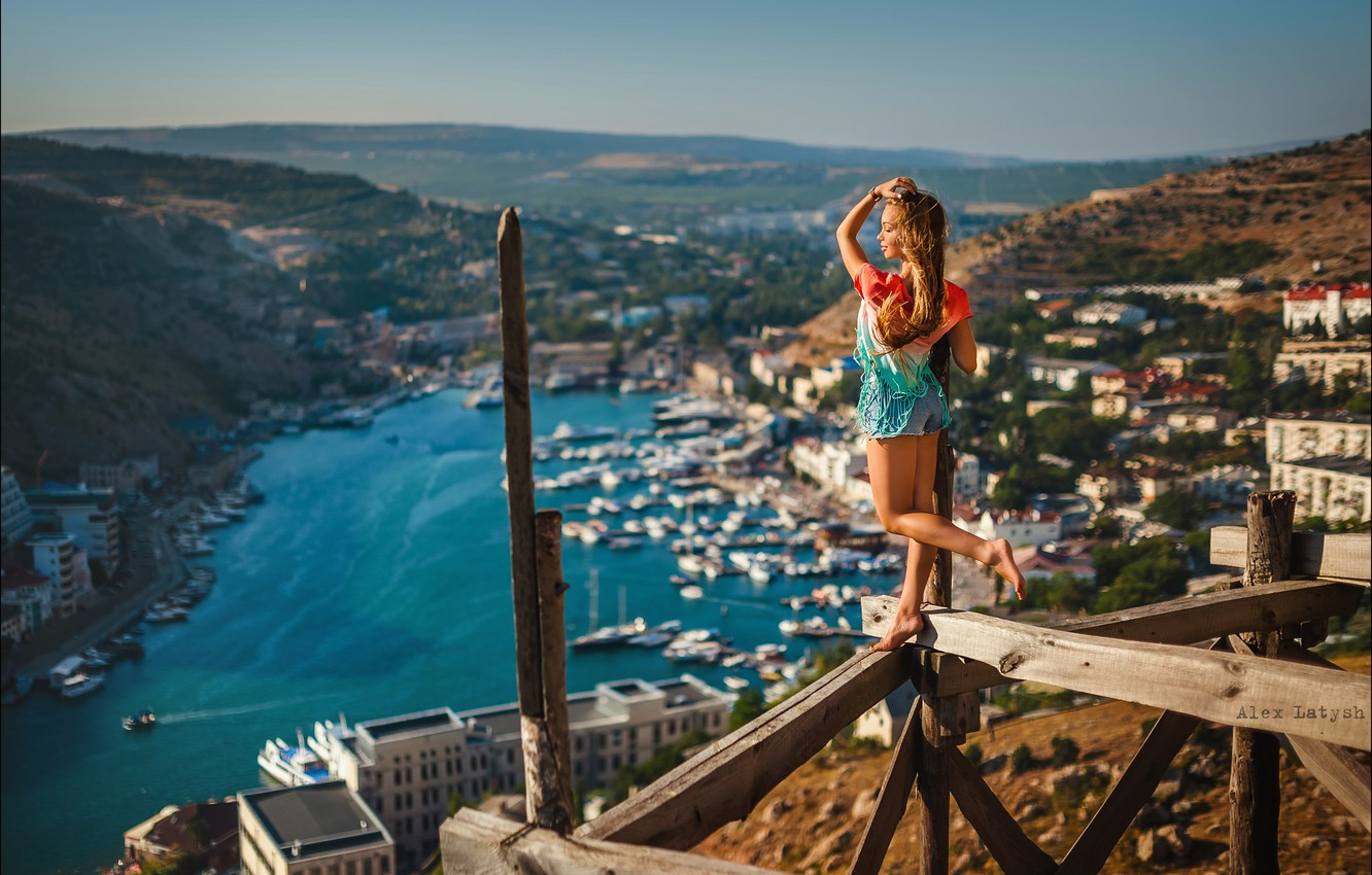 Photo wallpaper girl, the city, pose, mood, Board, the situation, panorama, forest, Alex Lett, Nick Wakaluk