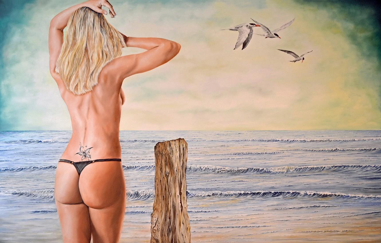 Photo wallpaper sea, ass, girl