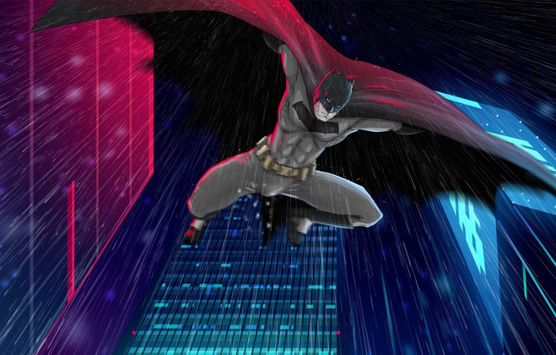 Photo wallpaper Batman, Rain, Comics, Bruce Wayne, Gotham City