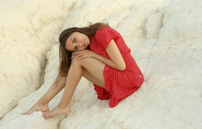 Photo wallpaper look, nature, smile, rock, dress, legs, Danniela