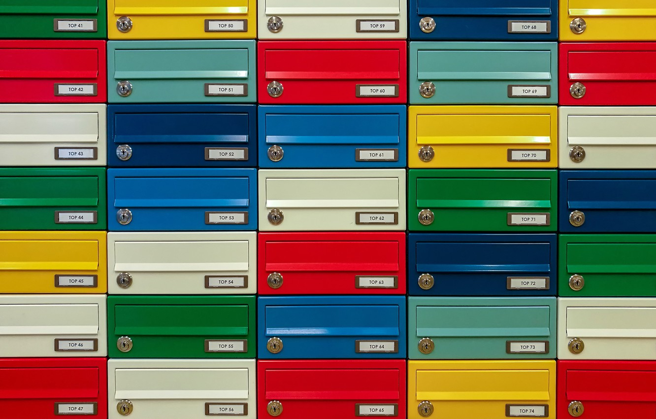 Photo wallpaper texture, colorful, mailboxes
