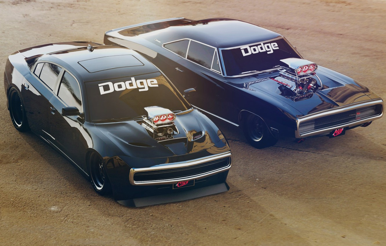 Photo wallpaper Black, Retro, Machine, Machine, Charger, Dodge Charger, Rendering, R/T, Muscle Car, Two, Dodge Charger R/T, …
