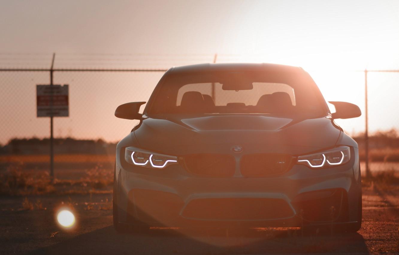 Photo wallpaper BMW, Light, Blue, Sunset, Evening, Face, F80, Sight, LED
