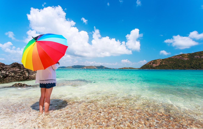 Photo wallpaper sand, sea, beach, summer, happiness, stay, color, rainbow, umbrella, colorful, girl, rainbow, girl, summer, happy, …