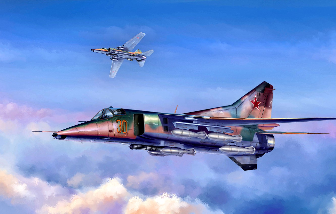 Photo wallpaper USSR, Supersonic, Fighter-bomber, The MiG-27, bombs, Flogger-D, six-barrel cannon GSH-6-30A