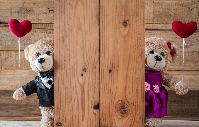 Photo wallpaper love, toy, heart, bear, hearts, red, love, bear, heart, wood, romantic, teddy, valentine's day, gift, …