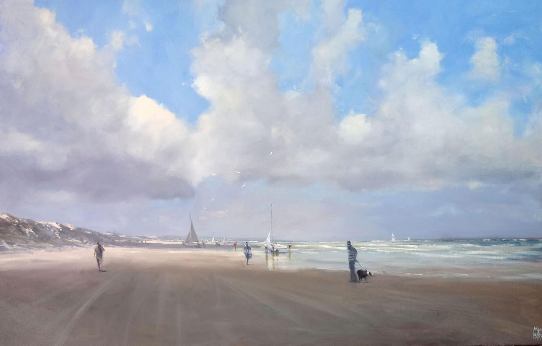 Photo wallpaper sand, wave, beach, clouds, birds, the ocean, shore, seagulls, mike barr