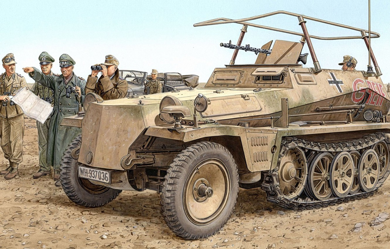 Photo wallpaper Germany, APC, the Wehrmacht, Ron Volstad, Gripping, Special motor vehicle 250, half-track, DAK, Afrika Korps, …