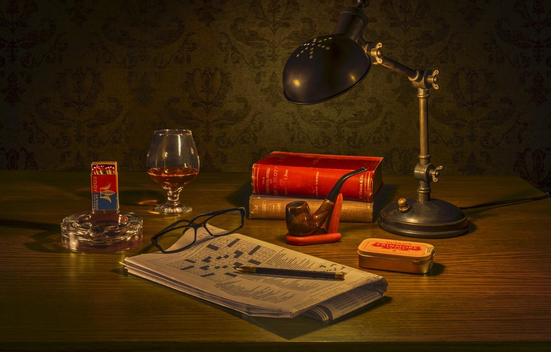 Photo wallpaper lamp, tube, glasses