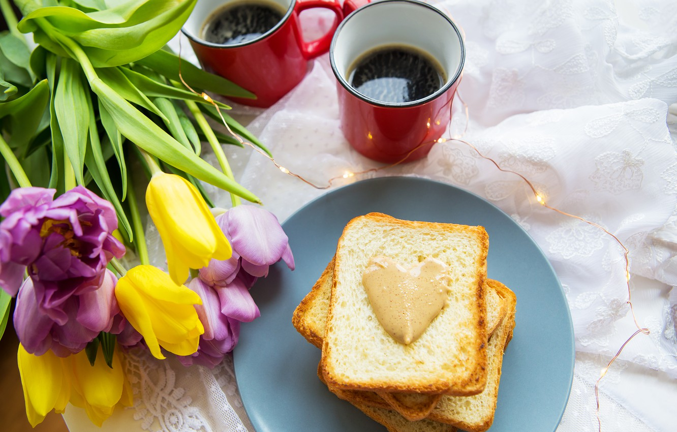 Photo wallpaper flowers, coffee, tulips, toast