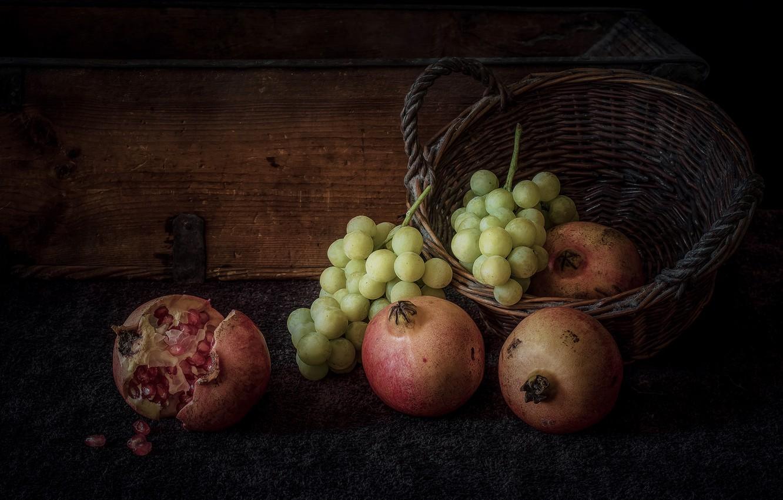 Photo wallpaper grapes, still life, basket, garnet