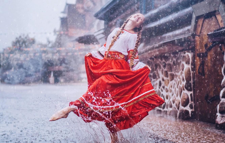 Photo wallpaper girl, smile, rain, mood, skirt, dance, puddle, girl, blouse, braids, in the rain, Kristina Makeeva