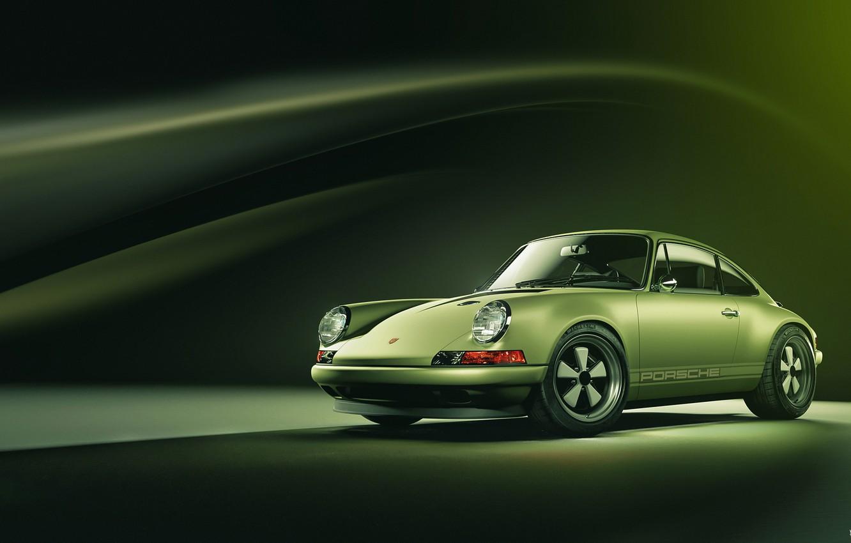 Photo wallpaper Porsche, Green, Machine, Background, Car, Render, Porsche 911, Rendering, Green, Sports car, Transport & Vehicles, …