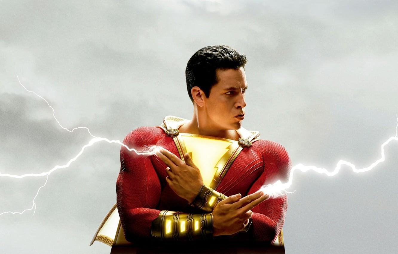 Photo wallpaper zipper, hero, costume, lightning, hero, DC comics, Shazam, shazam, 2019, Billy Batson, Zachary Levi, Zachary …