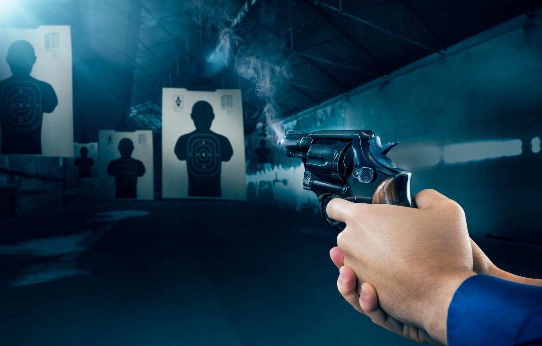Photo wallpaper gun, smoke, target shooting