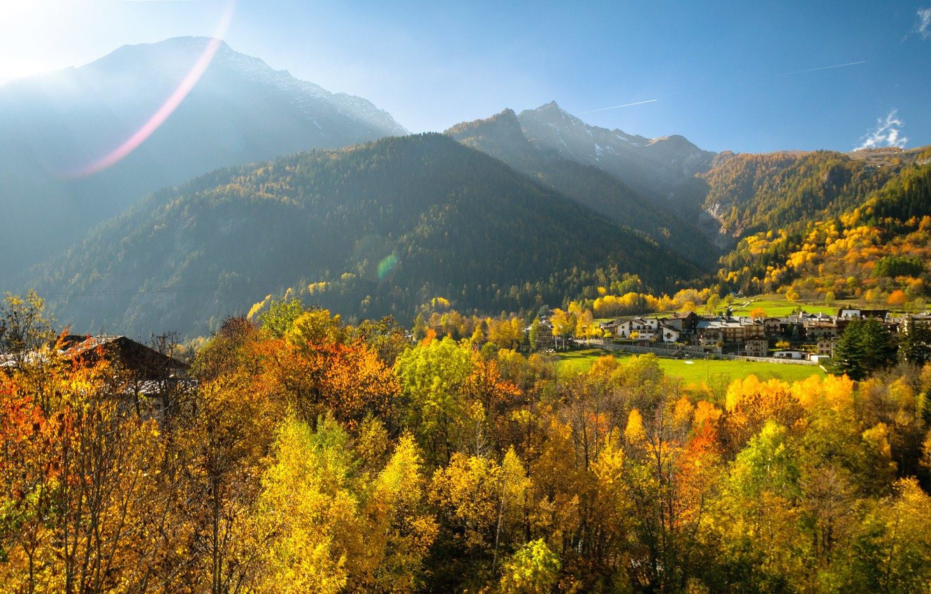 Photo wallpaper autumn, mountains, valley, Italy, Valle d'aosta, Курмайор