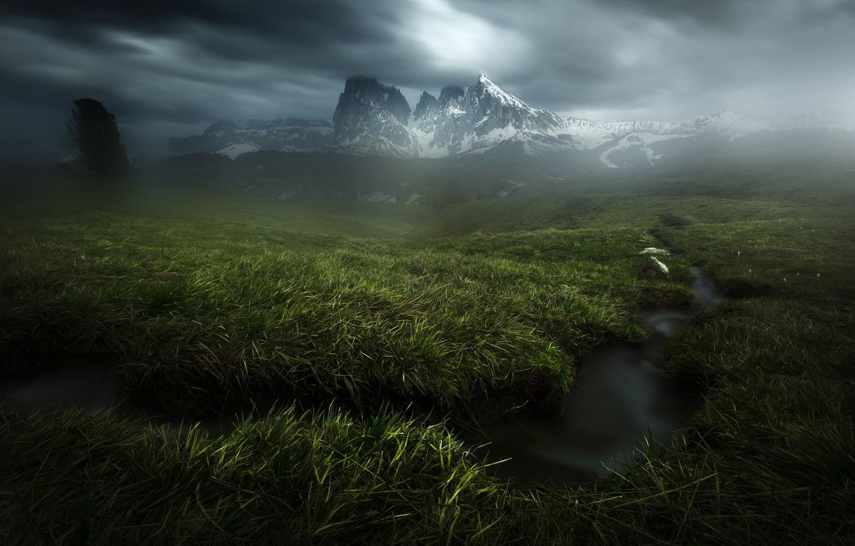 Photo wallpaper grass, mountains, clouds, stream, Alps