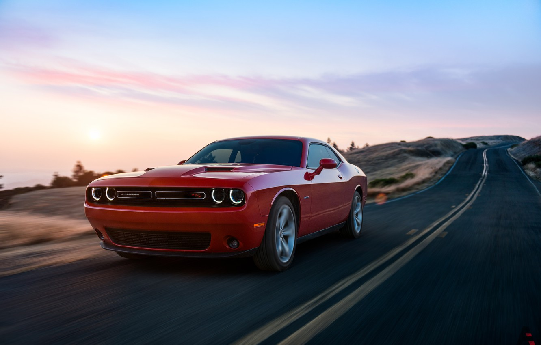 Photo wallpaper Red, Auto, Road, Machine, Dodge, Challenger, Dodge Challenger, Concept Art, Transport & Vehicles, by Kanishk …