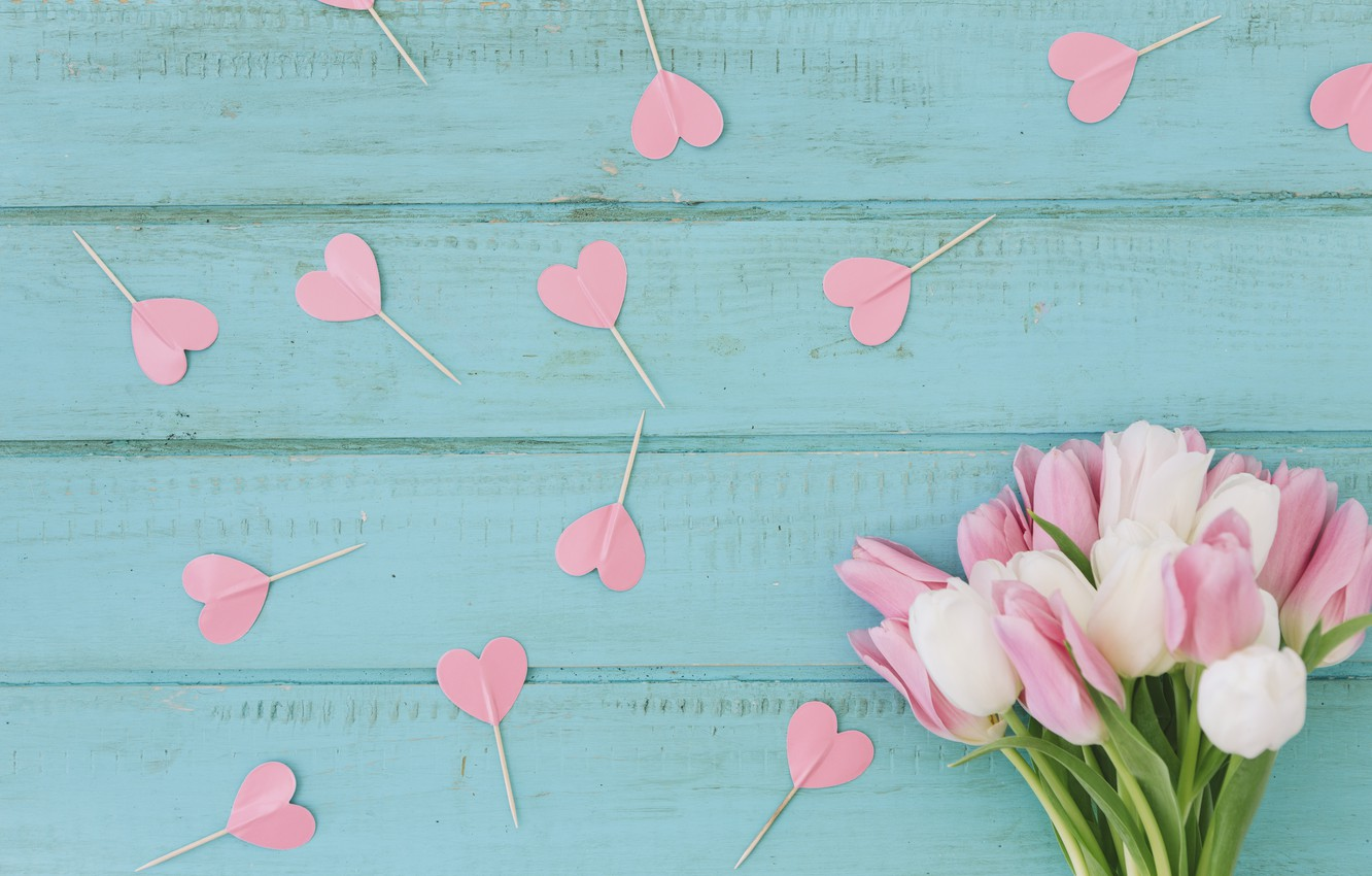 Photo wallpaper background, blue, bouquet, hearts, tulips, wood