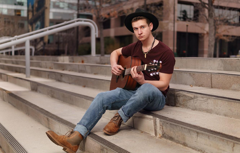 Photo wallpaper guitar, hat, ladder, stage, guy