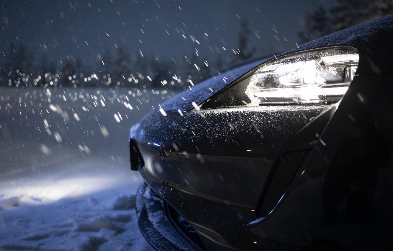 Photo wallpaper snow, black, Porsche, 2020, Taycan, Taycan 4S, led lights