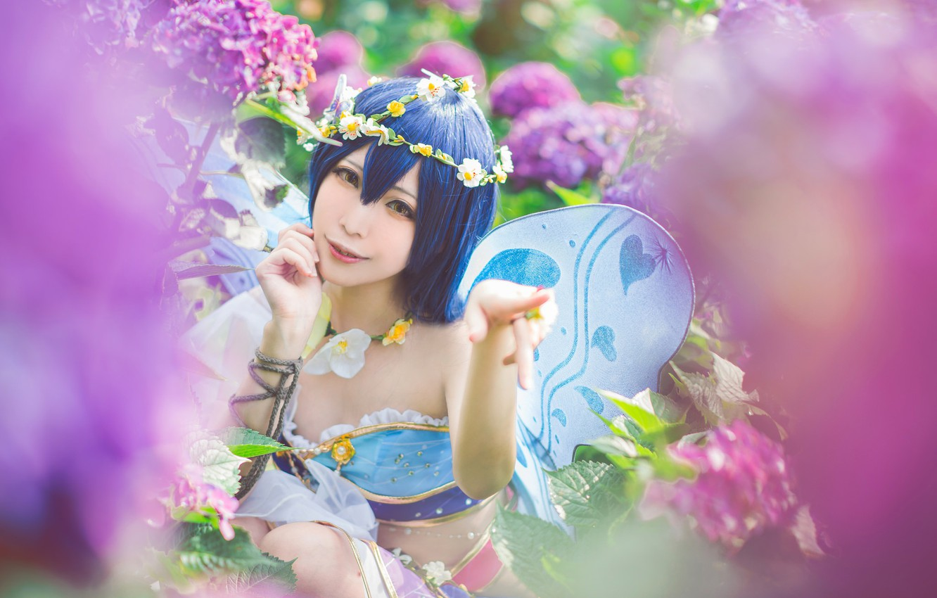 Photo wallpaper summer, look, girl, flowers, face, pose, smile, style, background, pink, elf, portrait, wings, hands, makeup, …