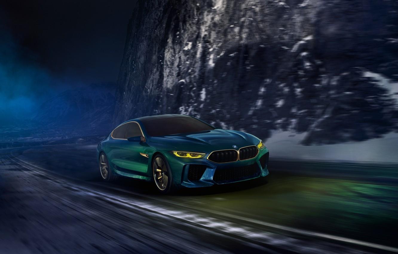Photo wallpaper road, night, movement, coupe, BMW, 2018, M8 Gran Coupe Concept