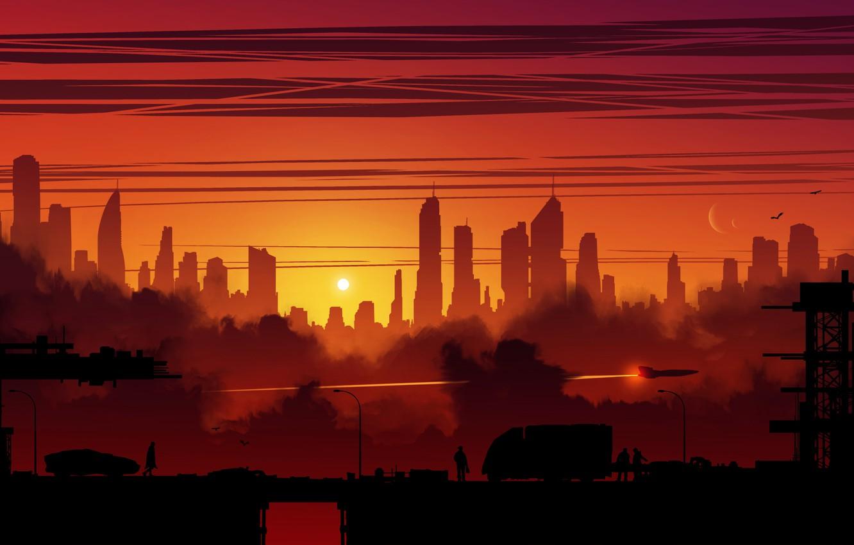 Photo wallpaper Sunset, The evening, The city, Silhouette, Art, Fiction, Transport, Kvacm, by Kvacm, Michal Kváč, by …