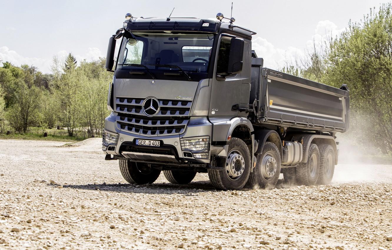 Photo wallpaper grey, Mercedes-Benz, dust, gravel, the ground, dump truck, Arocs, four-axle