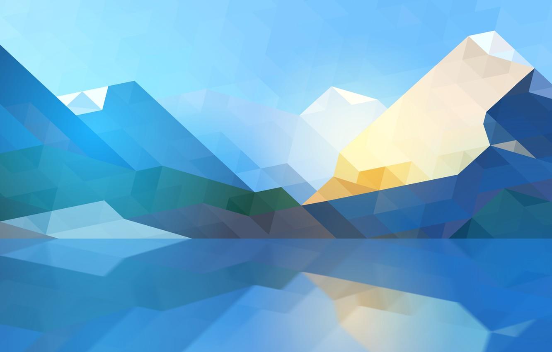 Photo wallpaper abstraction, Mountains, Linux, KDE, Plasma, box, Triangles, geometric, Plasma 5.22, Высокое качество
