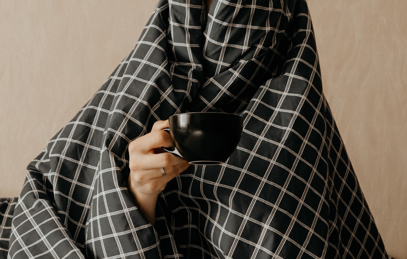 Photo wallpaper comfort, heat, mood, hand, Cup, plaid, wrapped